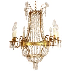 Louis XVI Style Gilt-Bronze and Crystall Cut Six-Light Chandelier, circa 1860