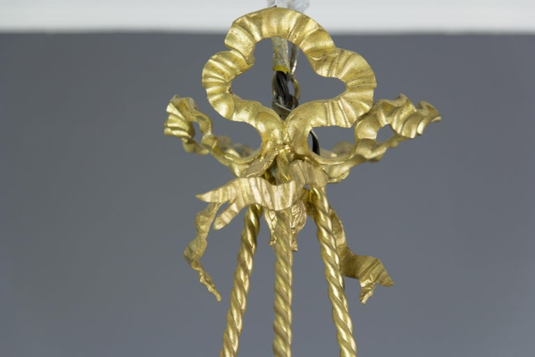 Louis XVI Style Gilt Bronze and Frosted Glass Chandelier with Bronze Flowers For Sale 6