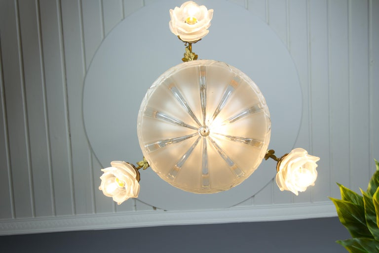 Louis XVI Style Gilt Bronze and Frosted Glass Chandelier with Bronze Flowers For Sale 7