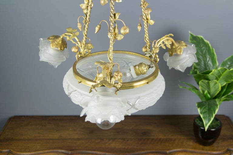 Louis XVI Style Gilt Bronze and Frosted Glass Chandelier with Bronze Flowers For Sale 9