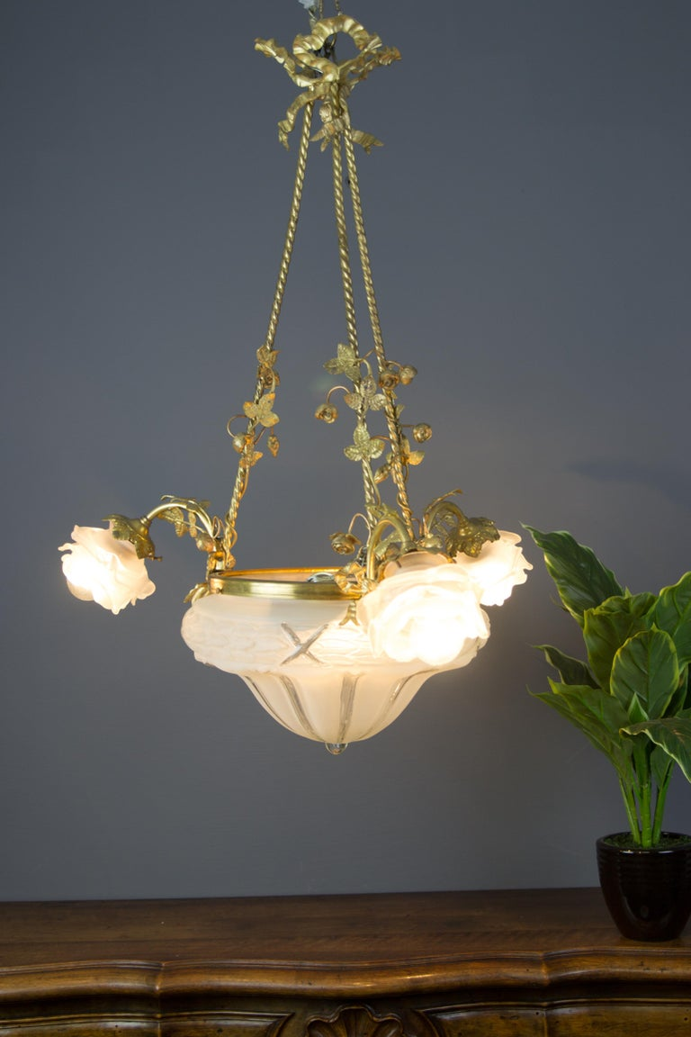 Louis XVI Style Gilt Bronze and Frosted Glass Chandelier with Bronze Flowers For Sale 10