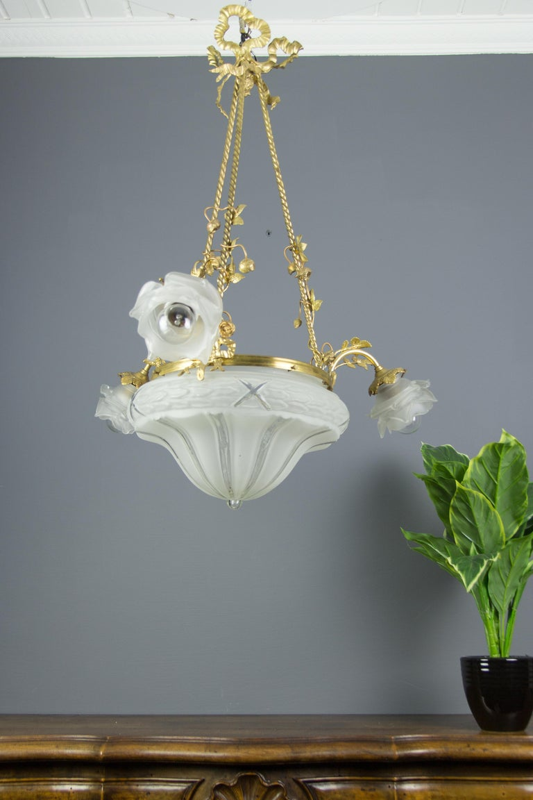 Louis XVI Style Gilt Bronze and Frosted Glass Chandelier with Bronze Flowers For Sale 14