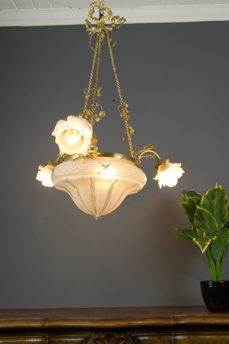 Louis XVI Style Gilt Bronze and Frosted Glass Chandelier with Bronze Flowers For Sale 15