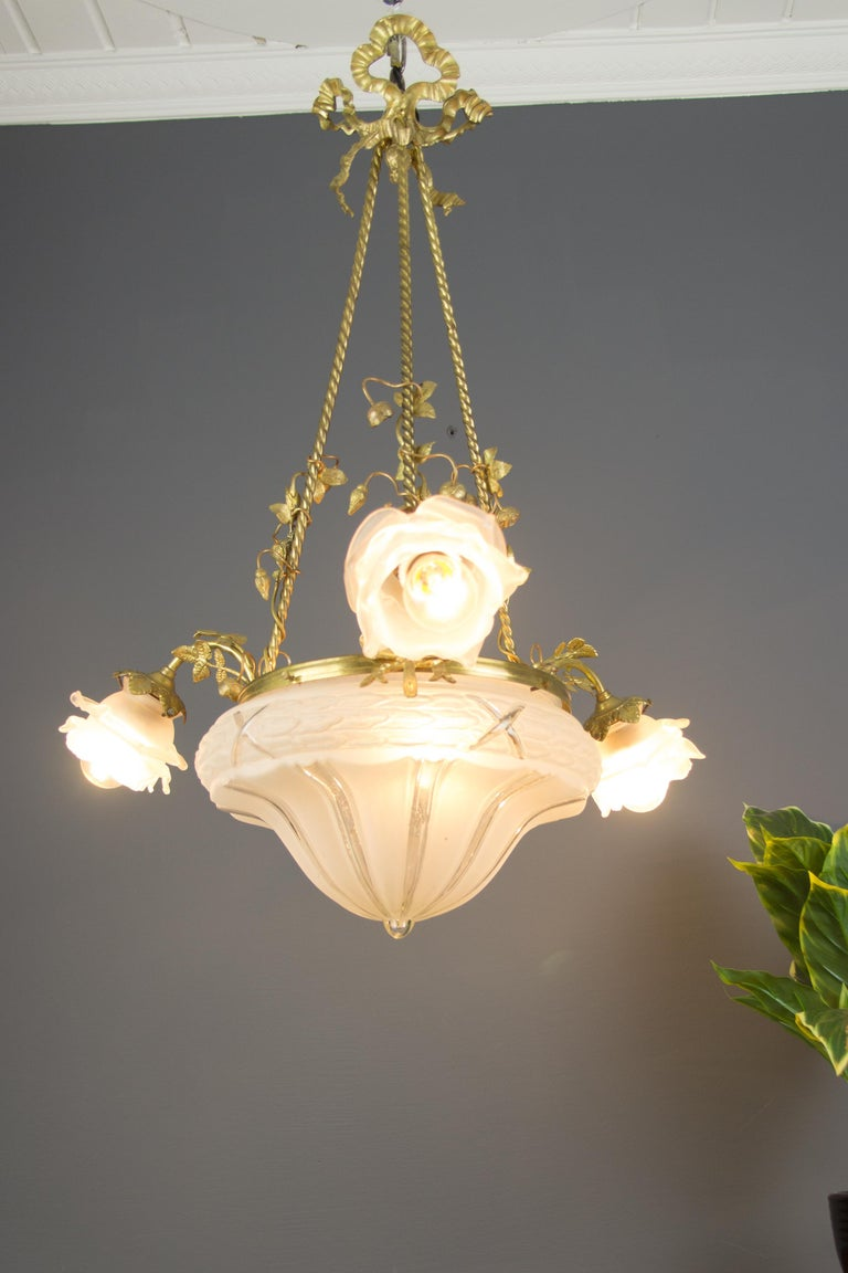 French Louis XVI Style Gilt Bronze and Frosted Glass Chandelier with Bronze Flowers For Sale