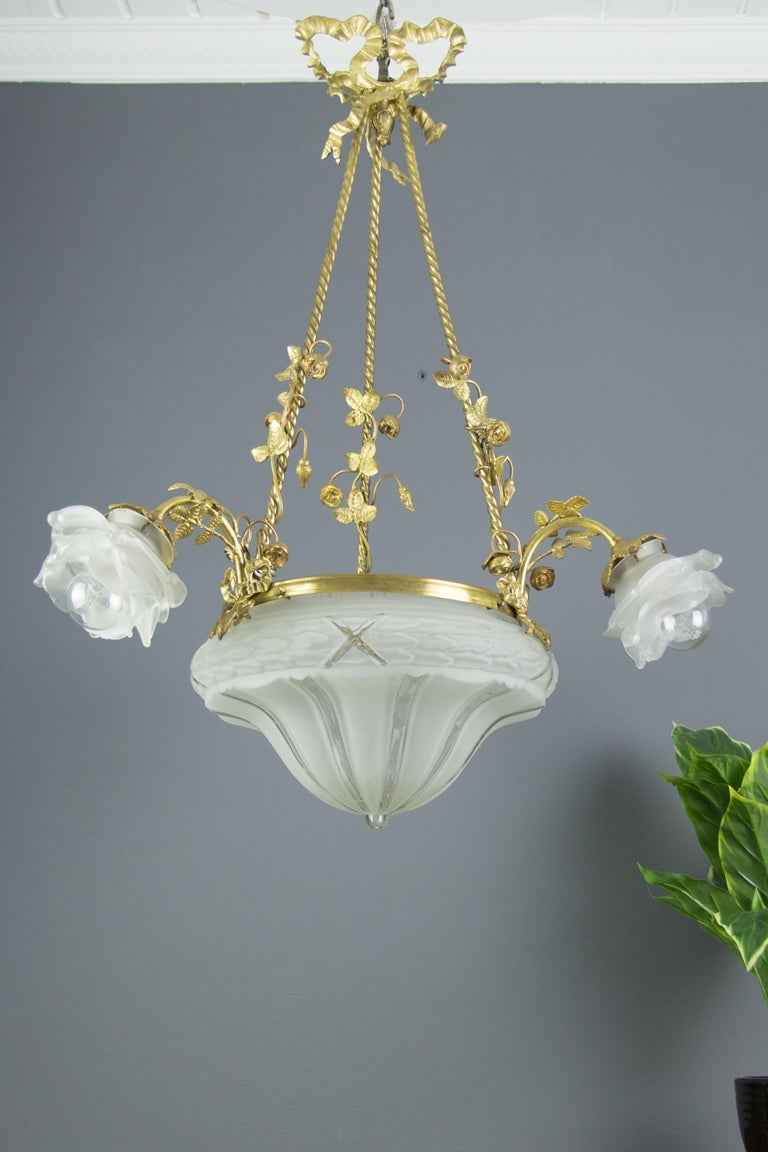 Louis XVI Style Gilt Bronze and Frosted Glass Chandelier with Bronze Flowers For Sale 1