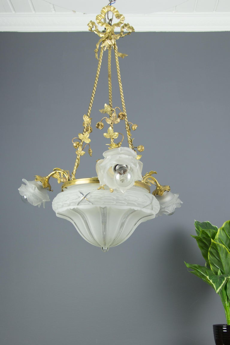 Louis XVI Style Gilt Bronze and Frosted Glass Chandelier with Bronze Flowers For Sale 2