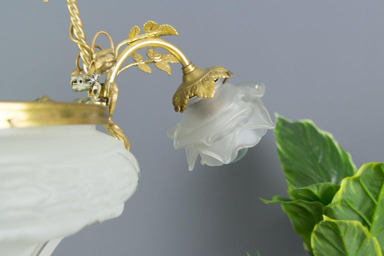 Louis XVI Style Gilt Bronze and Frosted Glass Chandelier with Bronze Flowers For Sale 3
