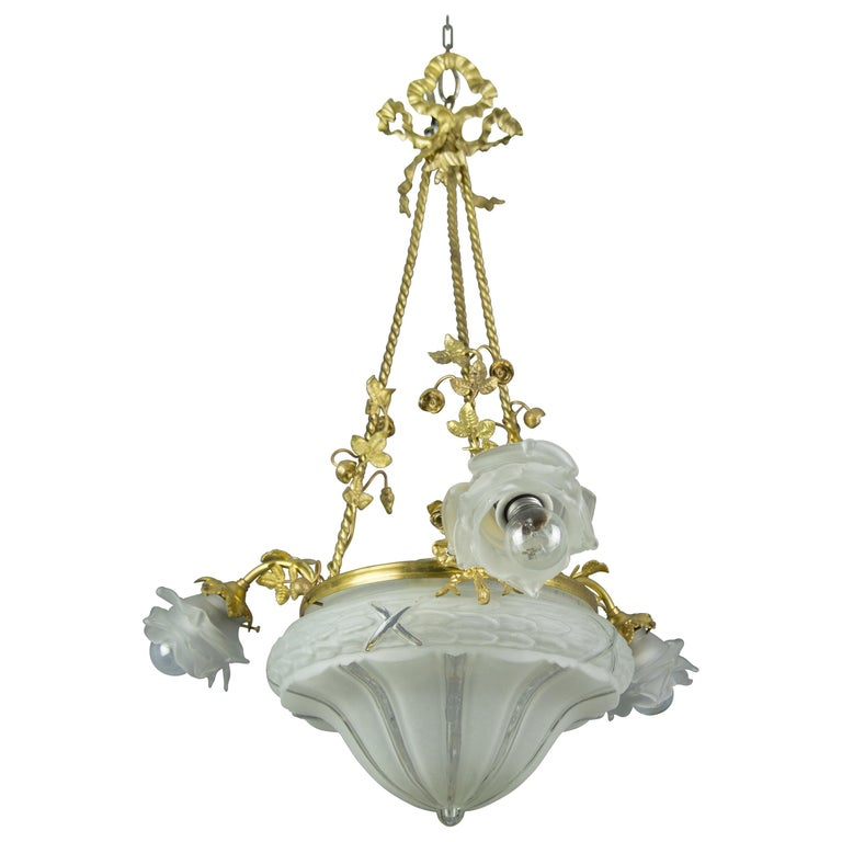 Louis XVI Style Gilt Bronze and Frosted Glass Chandelier with Bronze Flowers For Sale