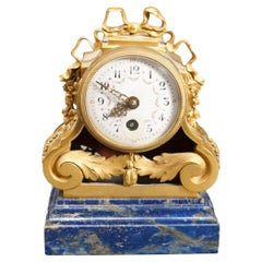 Louis XVI Style Gilt Bronze and Lapis Lazuli Desk Clock