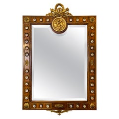 Louis XVI Style Gilt Bronze and Porcelain Mirror