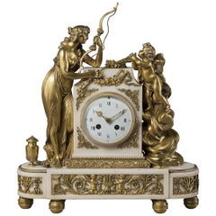 Louis XVI Style Gilt Bronze and White Marble Clock By François Linke, circa 1890