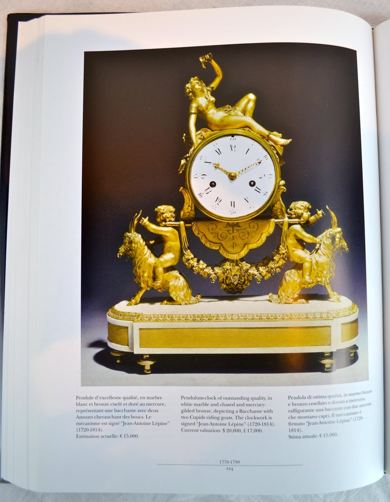 Louis XVI Style Gilt Bronze and White Marble Clock with Bacchante and Satyrs For Sale 5