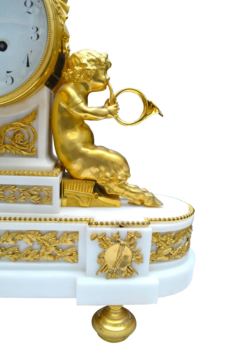 French Louis XVI Style Gilt Bronze and White Marble Clock with Bacchante and Satyrs For Sale