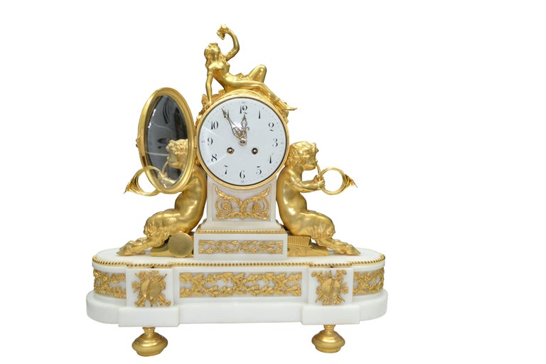 Louis XVI Style Gilt Bronze and White Marble Clock with Bacchante and Satyrs In Good Condition For Sale In Vancouver, British Columbia