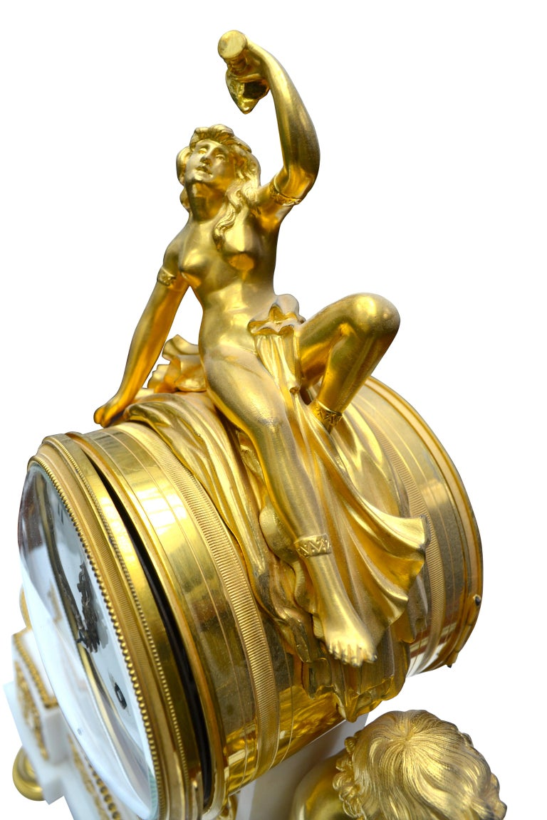 Louis XVI Style Gilt Bronze and White Marble Clock with Bacchante and Satyrs For Sale 1