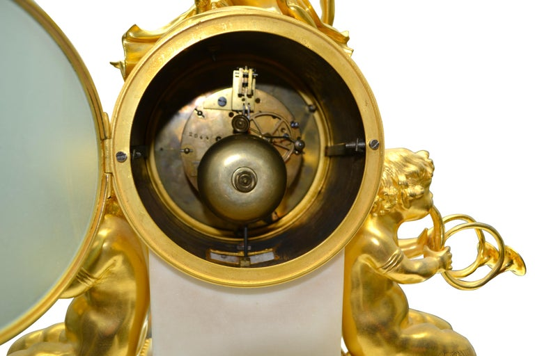 Louis XVI Style Gilt Bronze and White Marble Clock with Bacchante and Satyrs For Sale 3