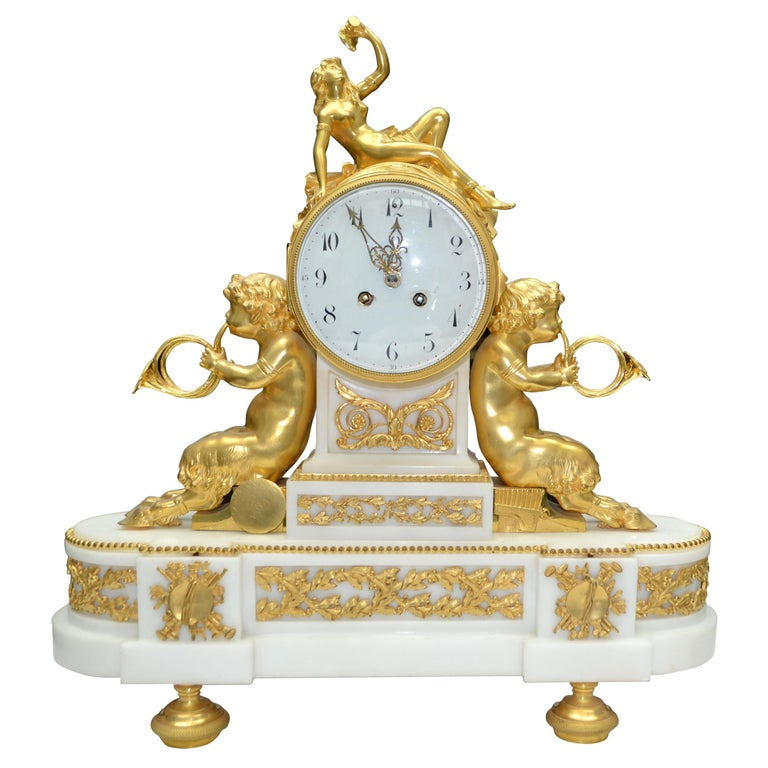 Louis XVI Style Gilt Bronze and White Marble Clock with Bacchante and Satyrs For Sale