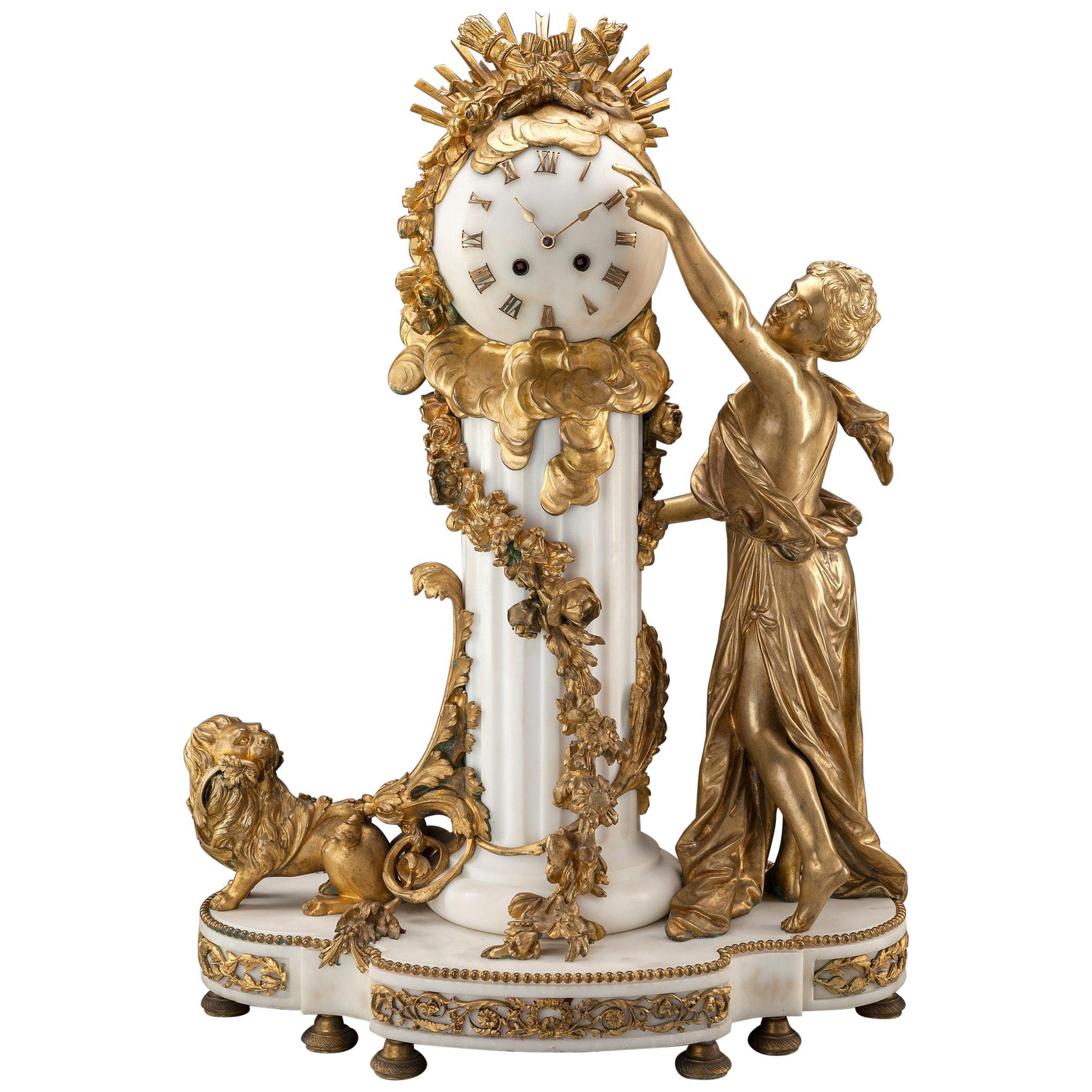 Louis XVI-Style Gilt Bronze and White Marble Figural Mantel Clock