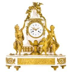 Louis XVI Style Gilt Bronze and White Marble Mantel Clock with Enamel Dial