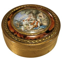Louis XVI Style Gilt Bronze Box with Miniature Hand Painted Marquise De Sevignè