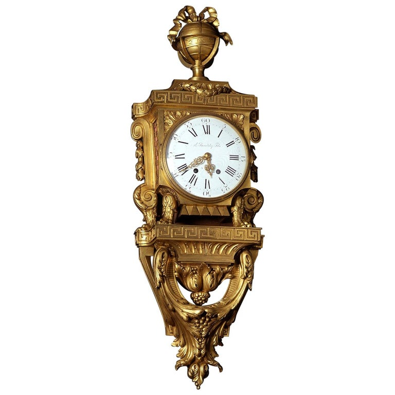 Louis XVI Style Gilt-Bronze Cartel Clock, by Beurdeley For Sale