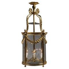 Louis XVI Style Gilt-Bronze Cylindrical Four-Light Lantern