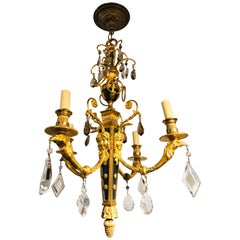Louis XVi Style Gilt Bronze and Ebony Figural Neoclassical Chandelier