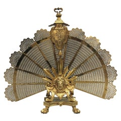 Louis XVI Style Gilt-Bronze Fan Shaped Fire Screen