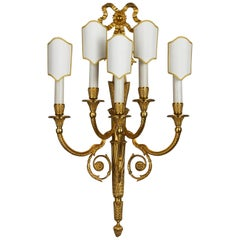 Louis XVI Style Gilt Bronze Five-Light Wall Sconce
