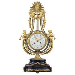 Louis XVI Style Gilt-Bronze Lyre Clock, French, circa 1880
