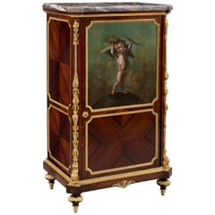 Louis XVI Style Gilt-Bronze Mounted Cabinet with a Painted Panel, French