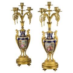 Louis XVI Style Gilt Bronze Mounted Cobalt blue Porcelain Five-Light Candelabras