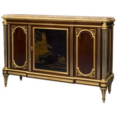 Louis XVI Style Gilt-Bronze Mounted Mahogany and Lacquer Commode, circa 1870
