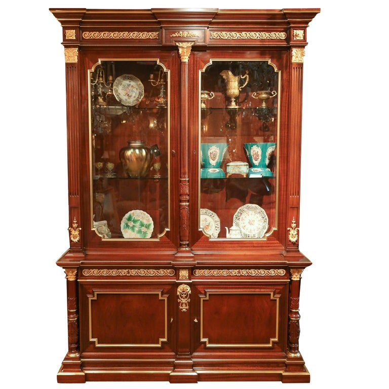 Louis XVI Style Gilt Bronze Mounted Mahogany  china / display  Cabinet For Sale