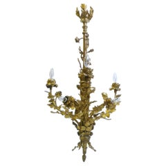 Louis XVI Style Gilt Bronze Six-Light Floral Chandelier