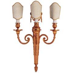 Louis XVI Style Gilt Bronze Three-Light Sconce by Gherardo Degli Albizzi