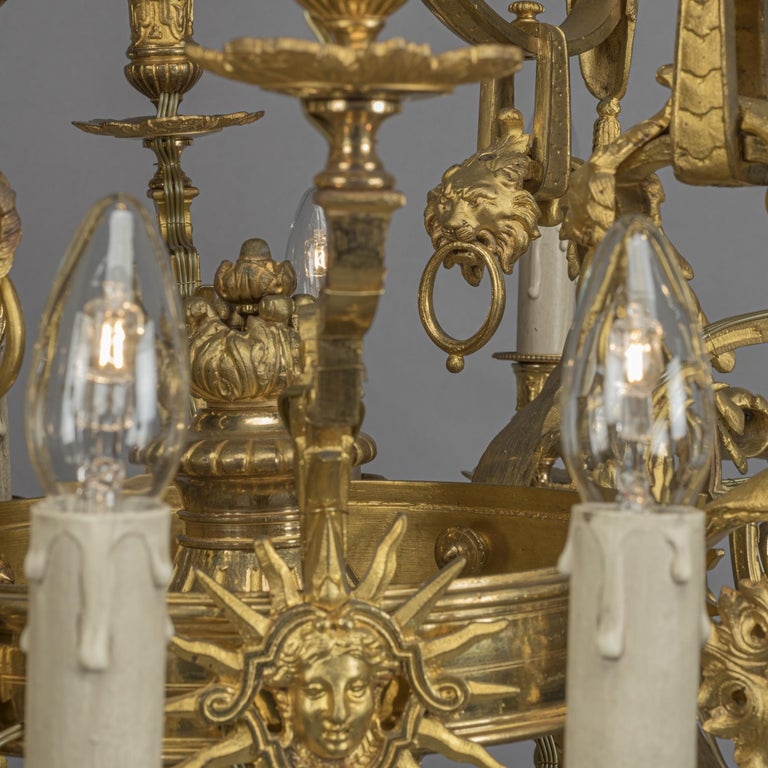 Louis XVI Style Gilt-Bronze Twenty-Four-Light Chandelier In Good Condition For Sale In London, GB