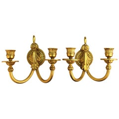 Louis XVI Style Gilt Bronze Wall Candle Sconces
