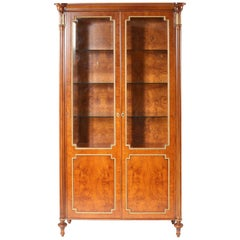 Louis XVI Style Gilt Gold / Mahogany Display China Cabinet