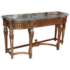 Louis XVI-Style Giltwood and Marble-Top Console Table