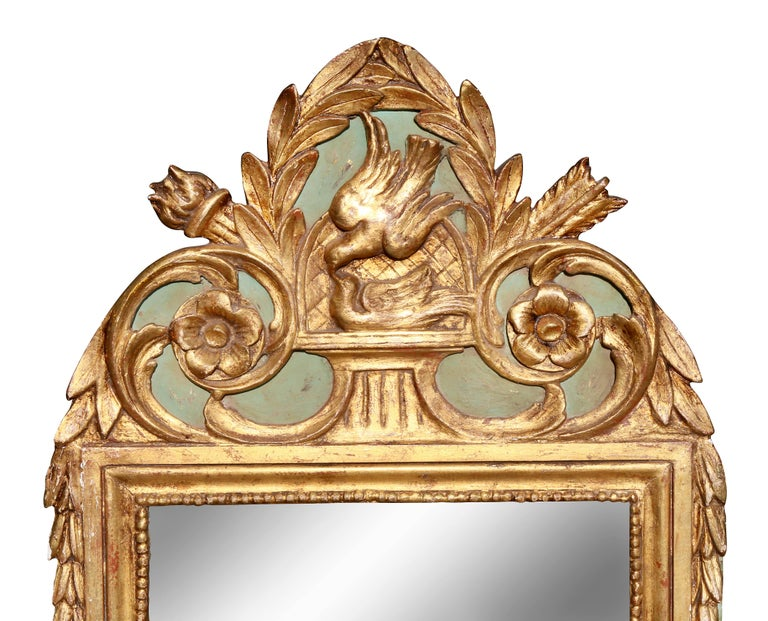 French Louis XVI Style Giltwood and Painted Mirror For Sale