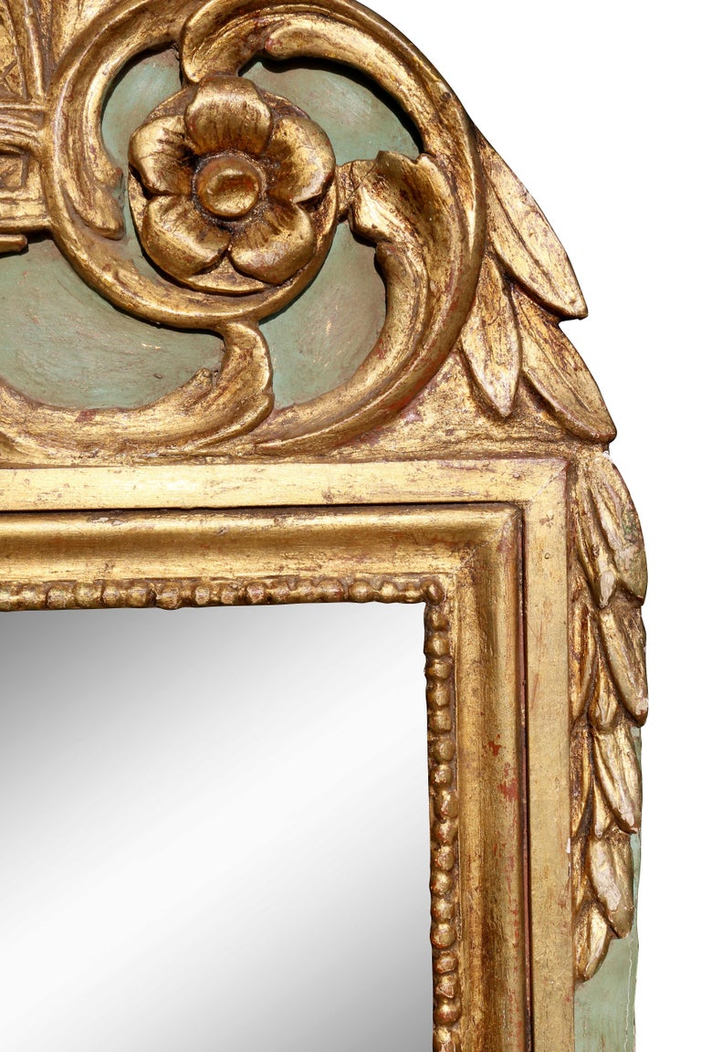 18th Century Louis XVI Style Giltwood and Painted Mirror For Sale