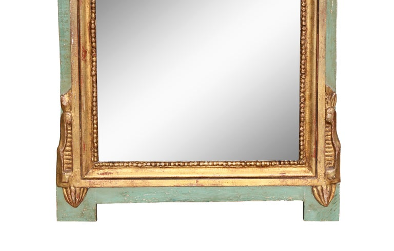 Louis XVI Style Giltwood and Painted Mirror For Sale 1