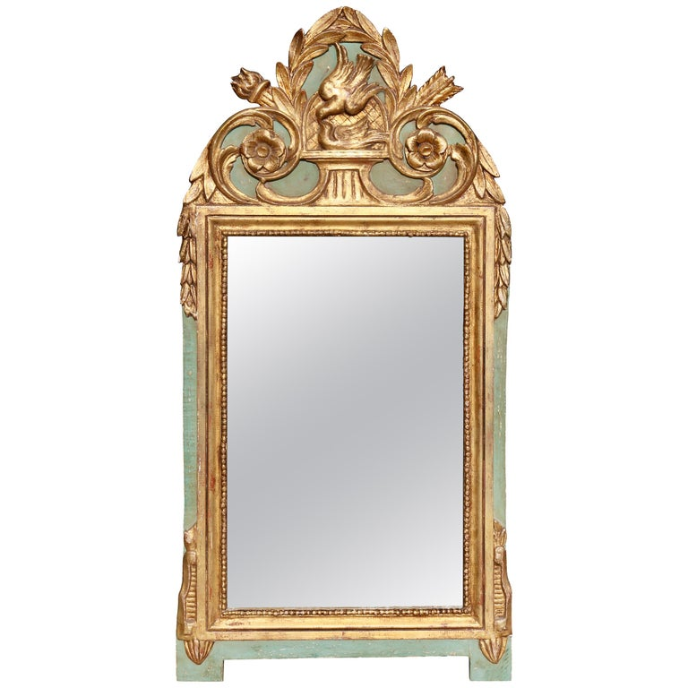 Louis XVI Style Giltwood and Painted Mirror For Sale