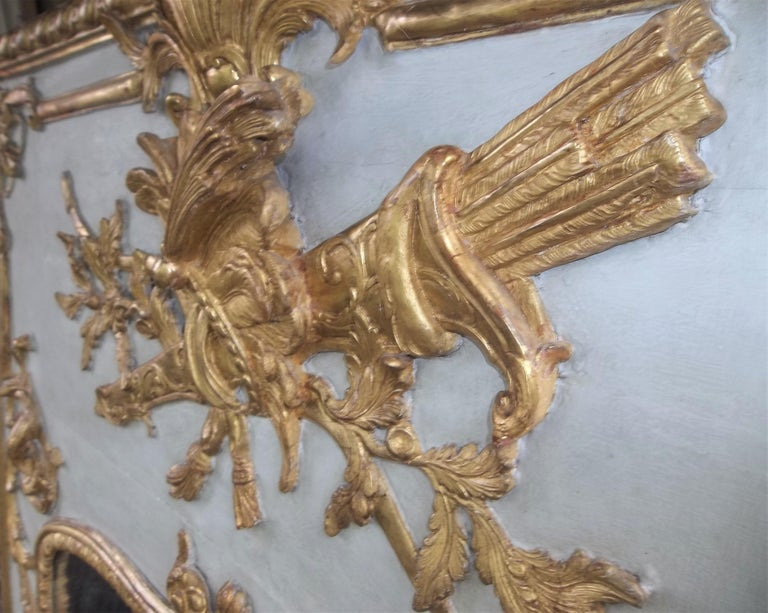 Louis XVI Style Giltwood Carved Trumeau Boiserie Fragment with Trophy For Sale 9