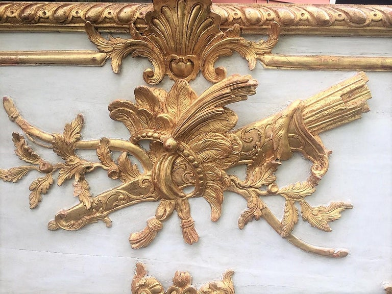 20th Century Louis XVI Style Giltwood Carved Trumeau Boiserie Fragment with Trophy For Sale