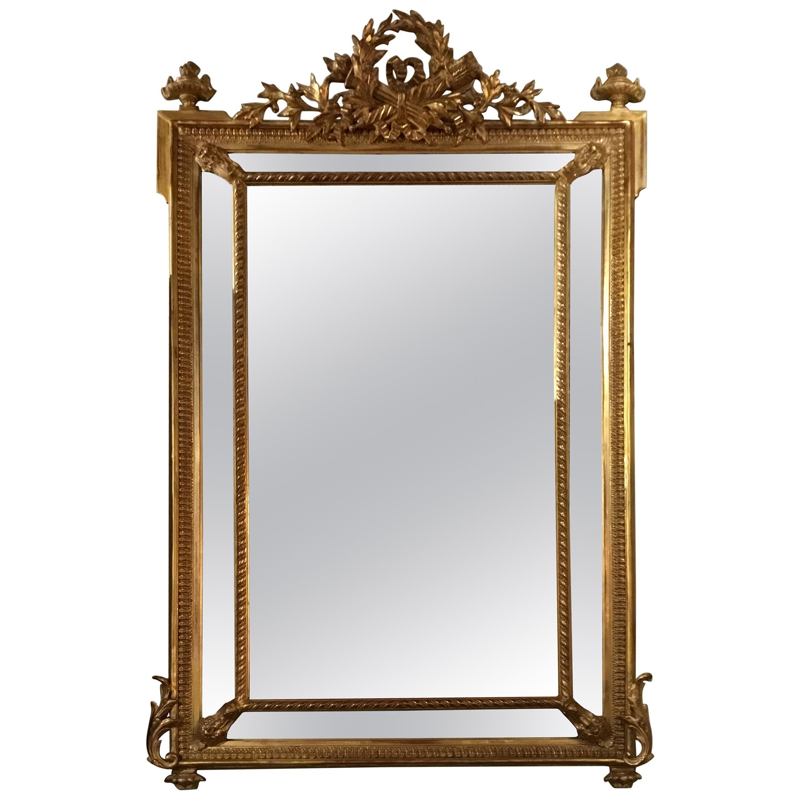 Louis XVI-Style Giltwood Cushion Mirror, 19th Century