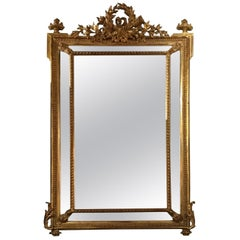Louis XVI-Style Giltwood Cushion Mirror, 19th Century