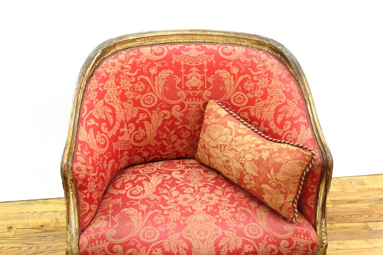 European Louis XVI Style Giltwood Fauteuil with Damask Upholstery For Sale