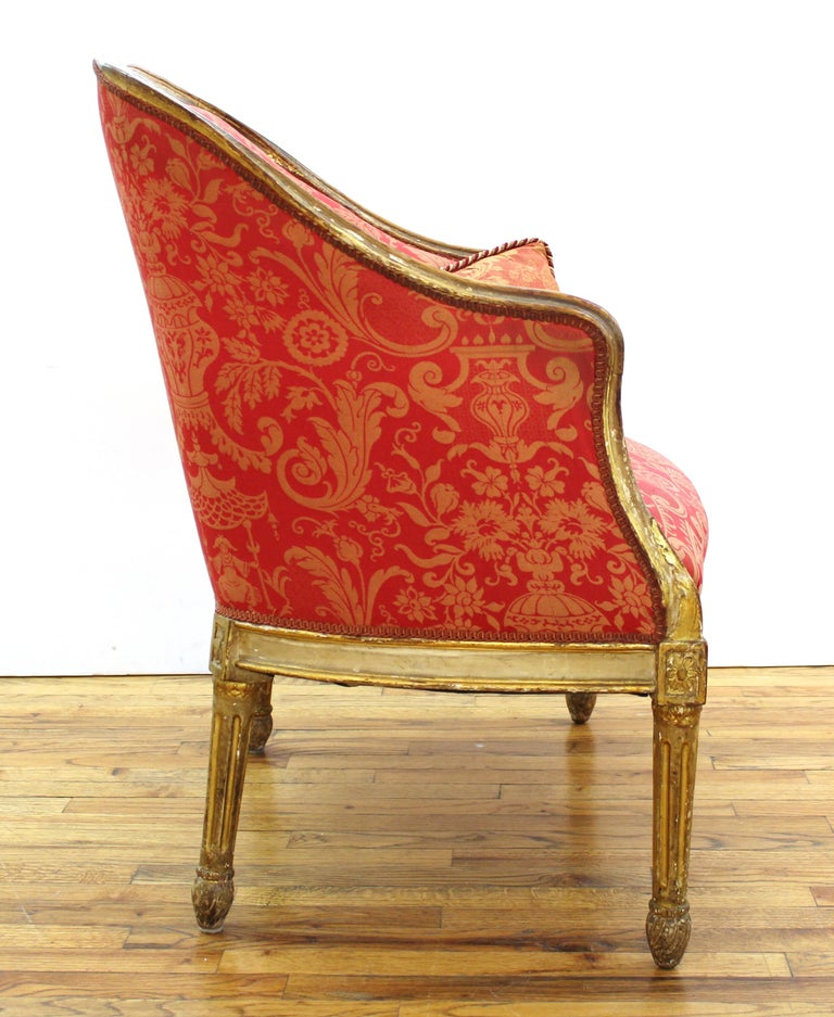 Louis XVI Style Giltwood Fauteuil with Damask Upholstery In Good Condition For Sale In New York, NY
